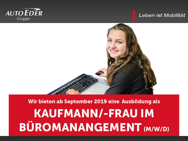 Kaufmann / -frau für Büromanagement (m/w/d)